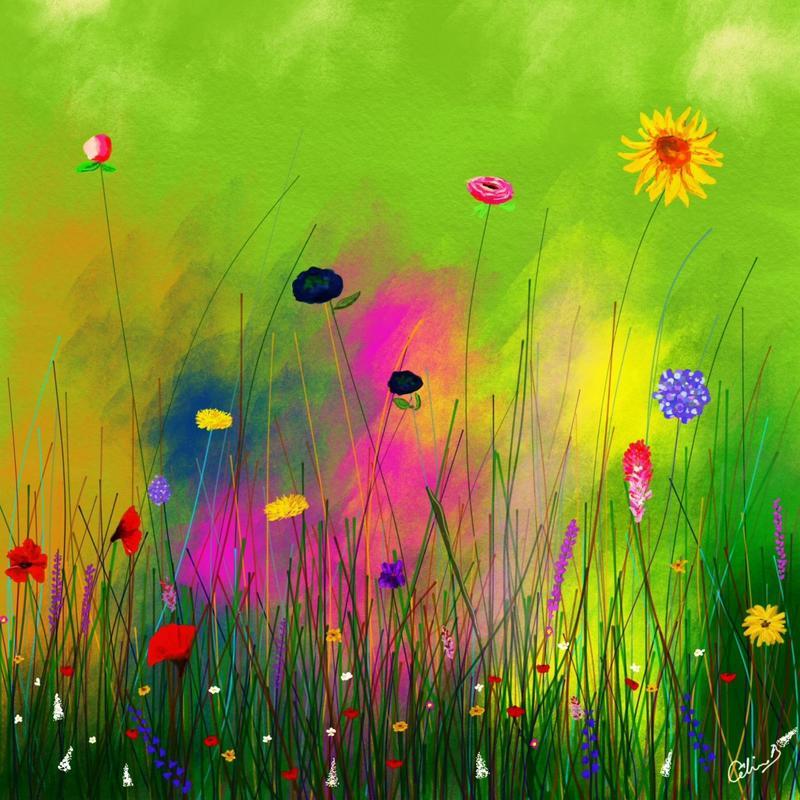 Wild flowers. Digital art print. 20x20cm