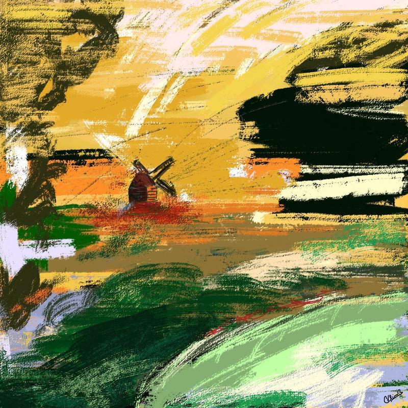 Windmill. Digital art print. 20x20cm