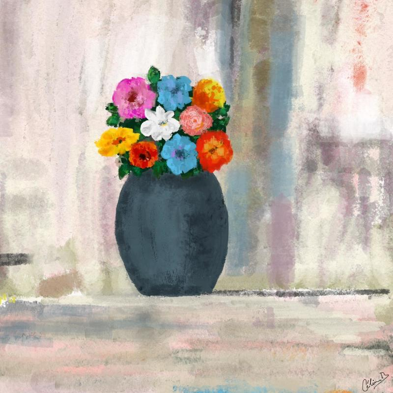 Bouquet and vase. Digital art print. 20x20cm