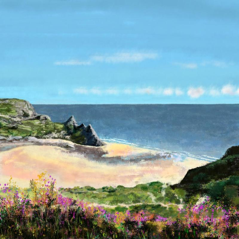 Three Cliffs Bay, Wales. Digital art print. Various options