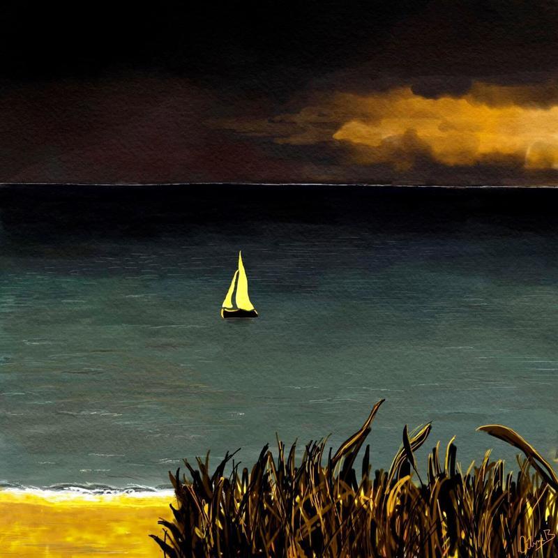 Highcliffe beach, Dorset. Digital art print. 20x20cm