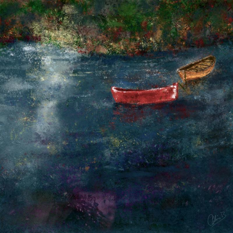 Rowing boats. Digital art print. 20x20cm