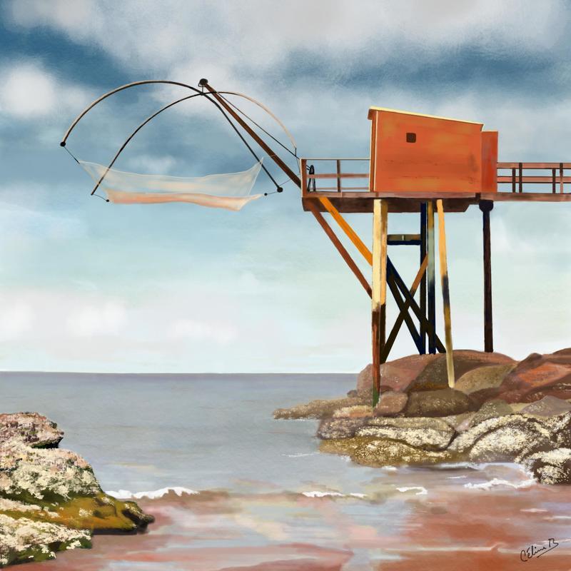 Fisherman's Hut, Brittany. Digital art print. Various options