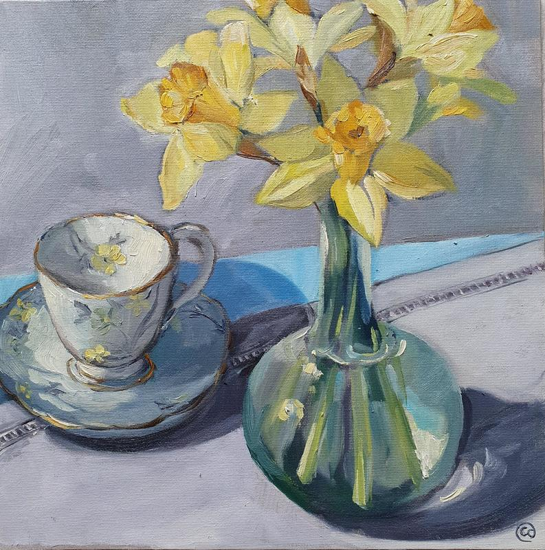Flowers and a teacup