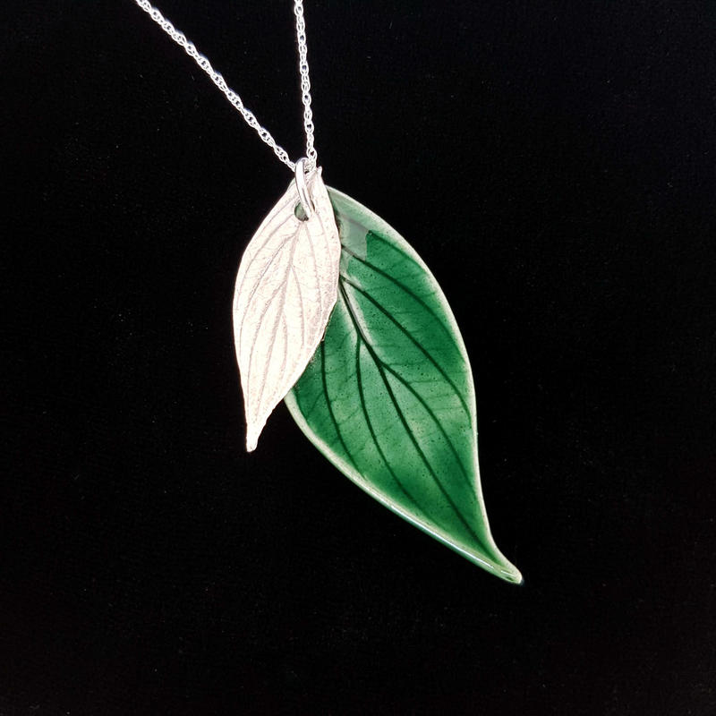 Leaf necklace, silver and ceramic. £33