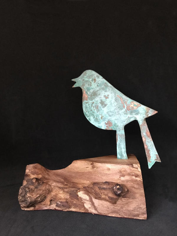 Singing bird - copper verdigris on wooden base