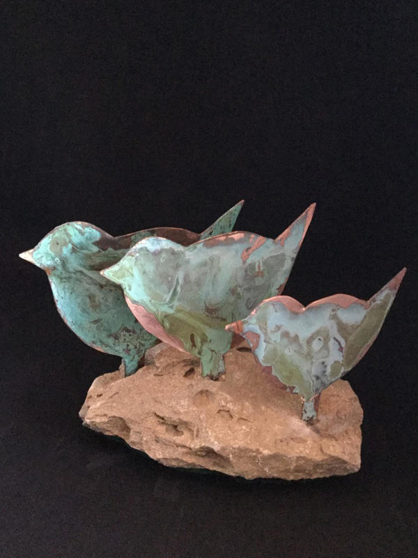 Three birds - copper verdigris on stone base