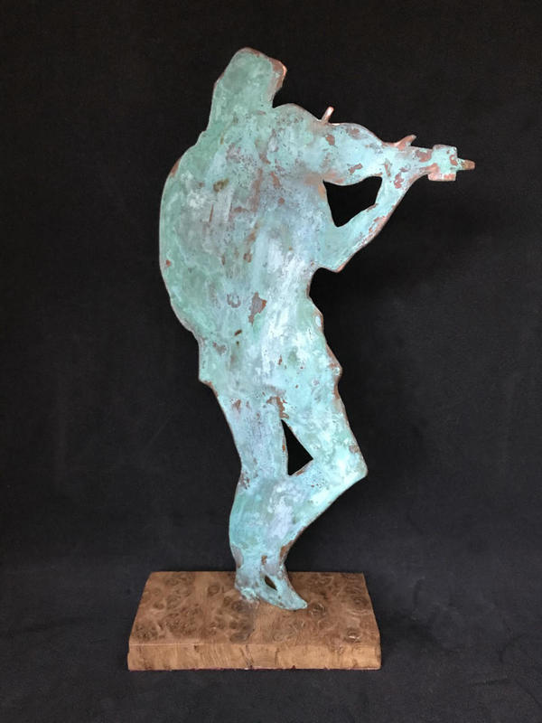 Fiddler - copper verdigris on wooden base
