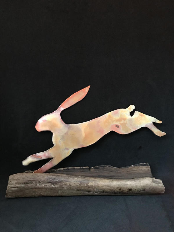 Running hare - copper heated to colour