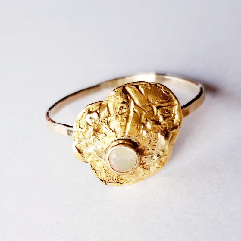 'Unearthed' ring, gold and opal, Chloe Romanos