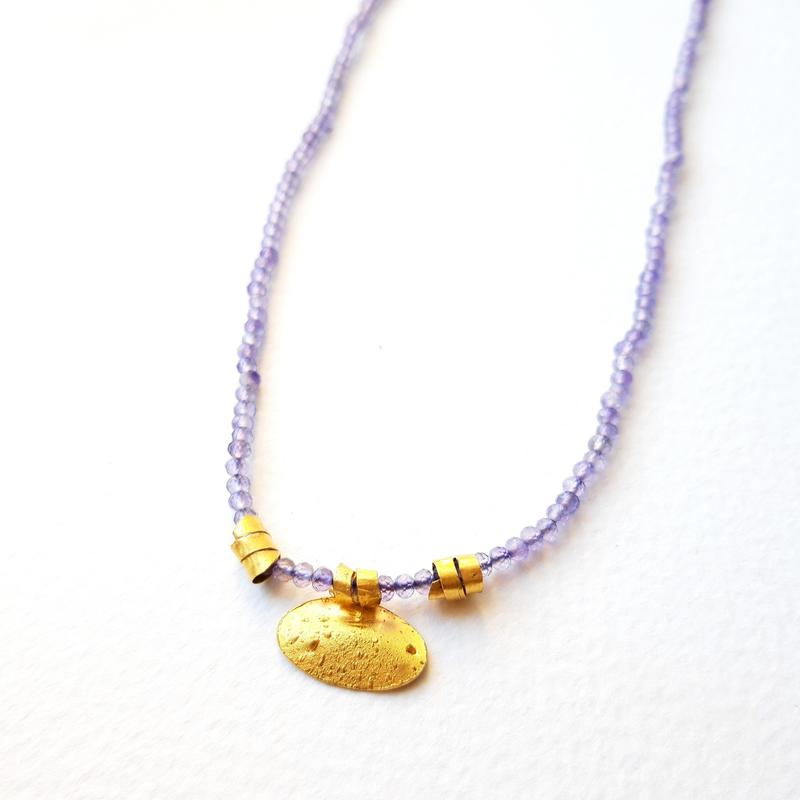 'Unearthed' Necklace, 24ct gold pendant, facetted amethyst beads, Chloe Romanos, £260