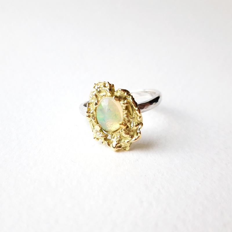 'Melt Me' Ring, 18ct gold, sterling silver and oval opal, Chloe Romanos, £230