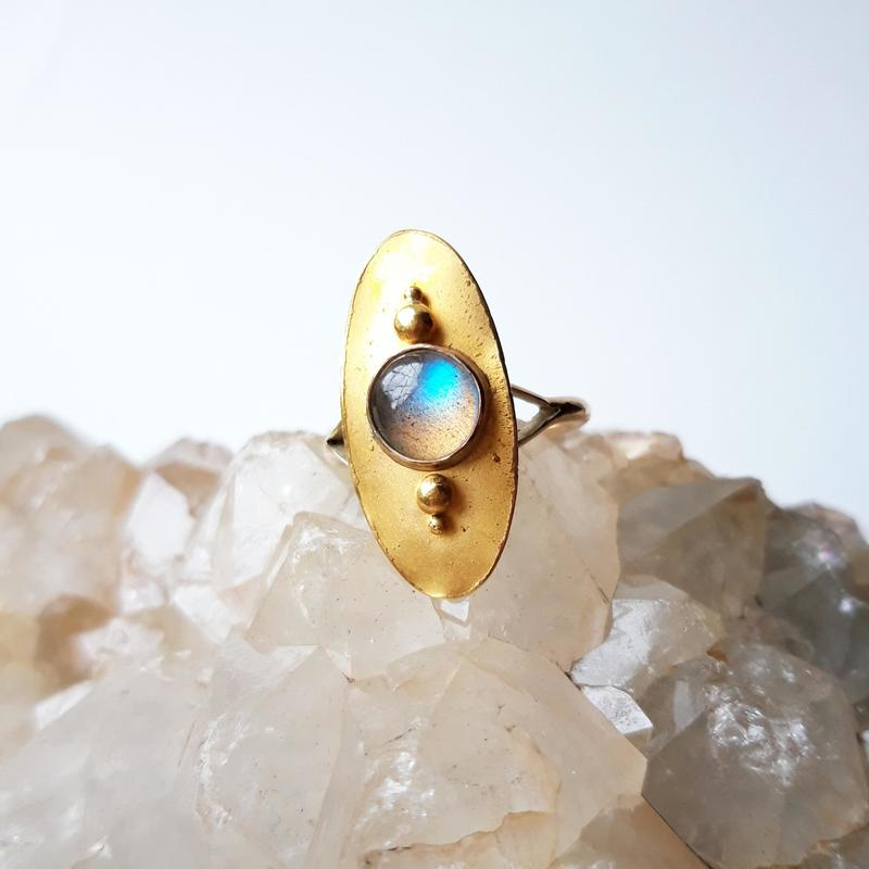 'Unearthed' Ring, 24ct gold and labradorite, Chloe Romanos, £320
