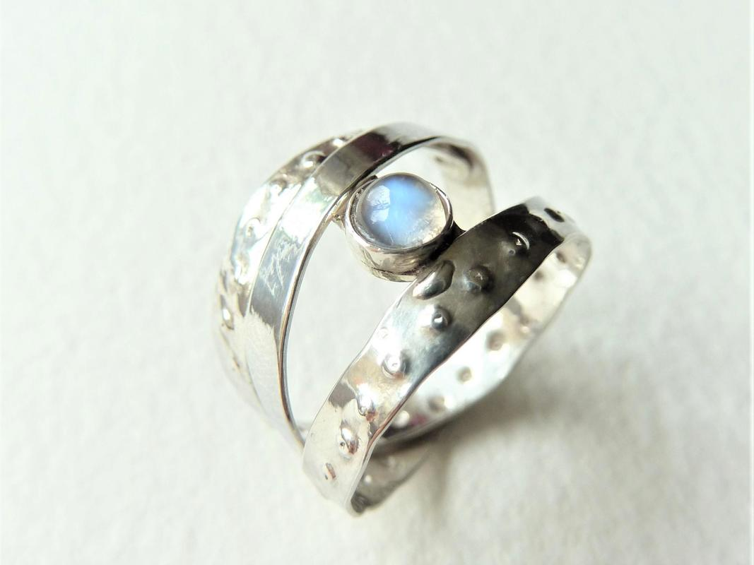 'Tattoo Me' ring, sterling silver and labradorite, Chloe Romanos