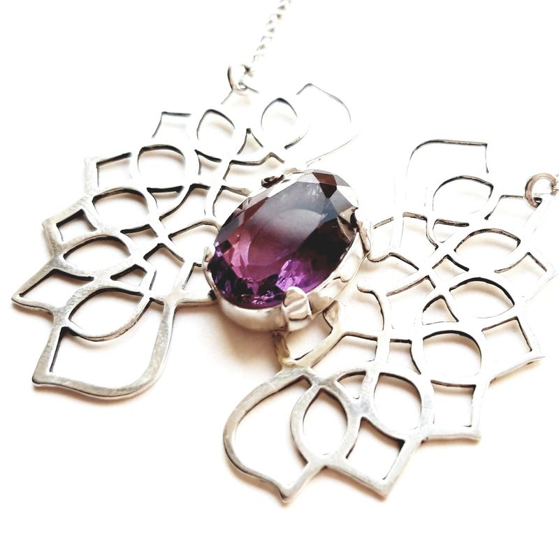 'Indian Dream' Necklace, sterling silver with purple fluorite stone, Chloe Romanos