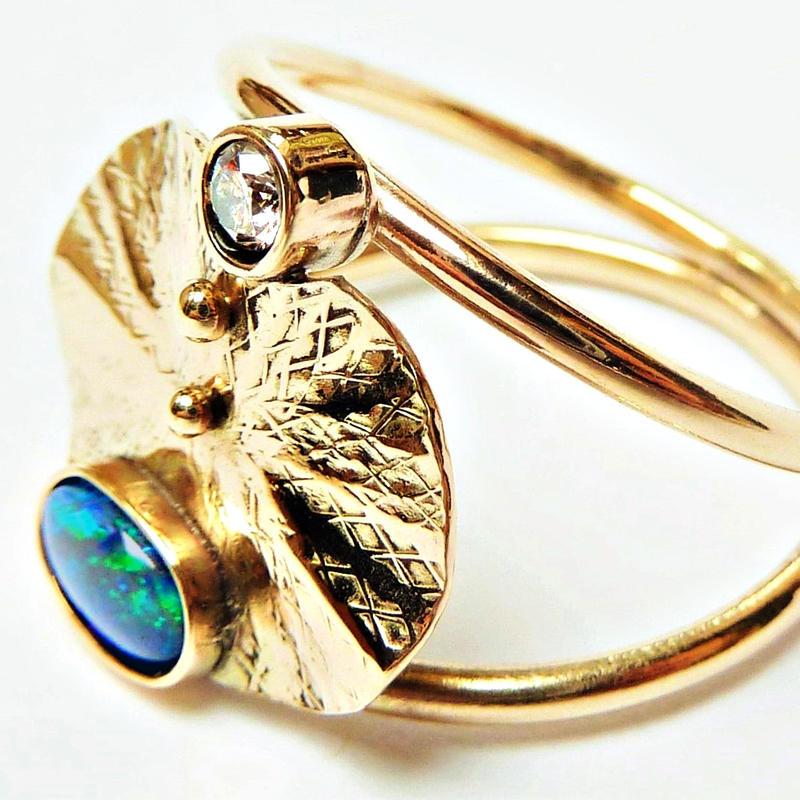 'Mycenae' Ring, gold with diamond and opal, Chloe Romanos