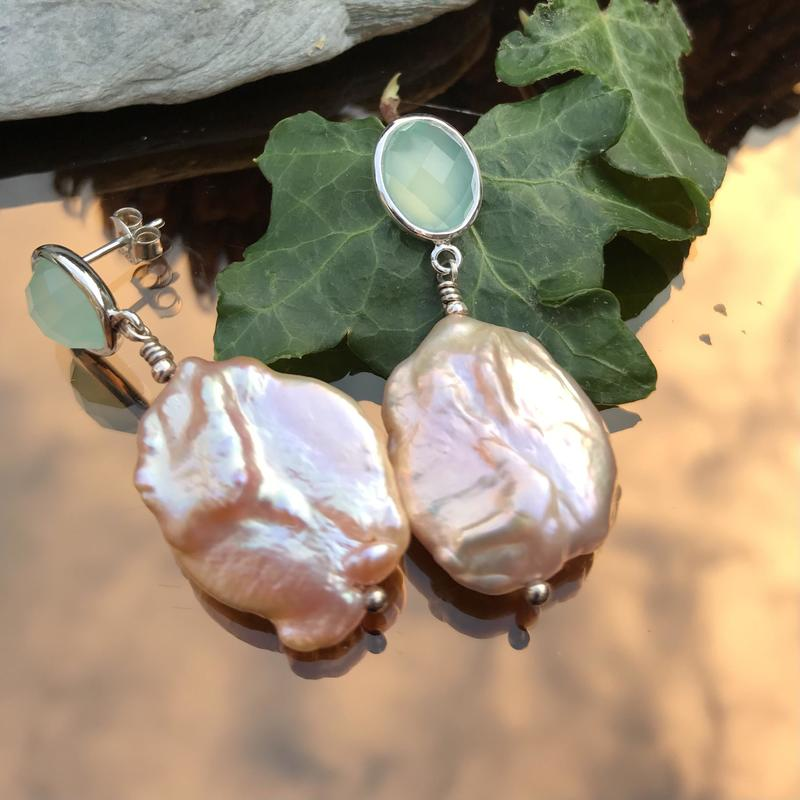 Aqua Chalcedony with baroque pearls and silver