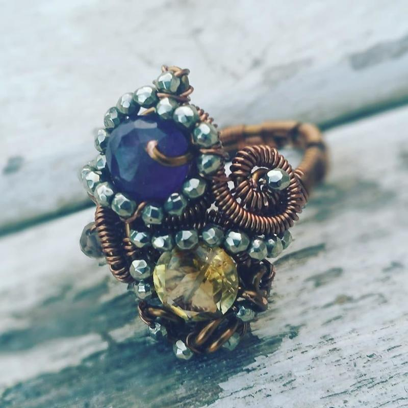 Copper, amethyst, citrine and pyrite ring
