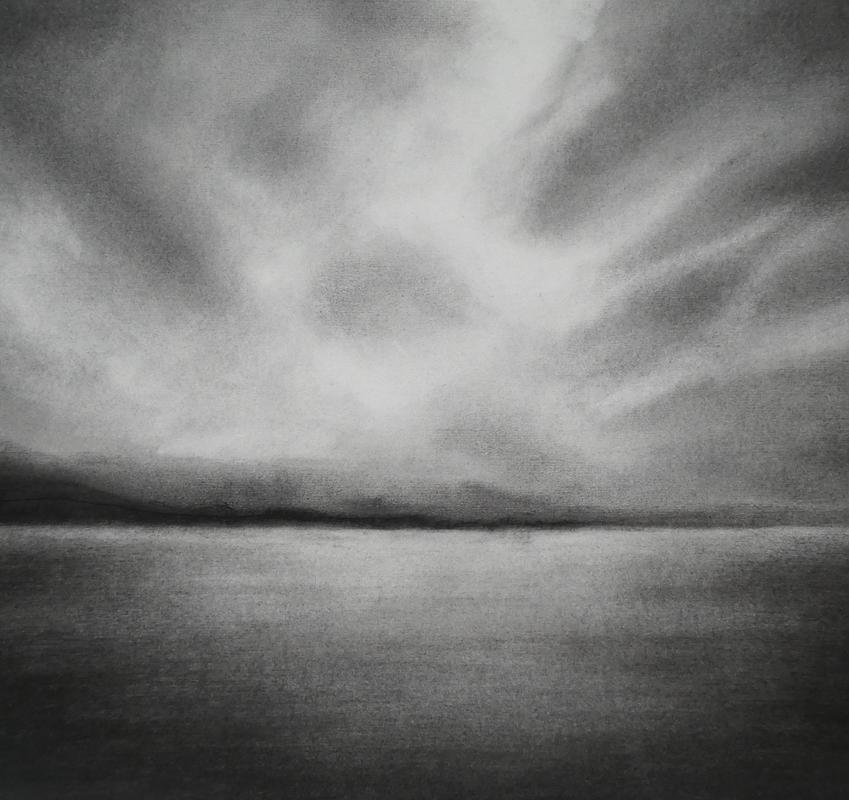Across Loch Lihnne 2; charcoal on paper