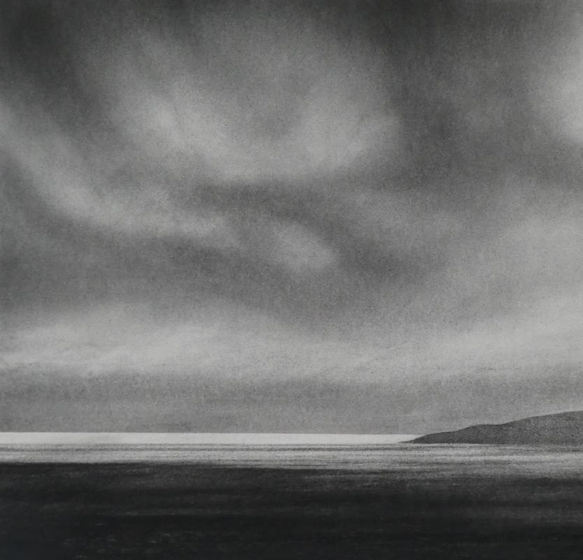 To Soay across Loch Seavaig, Skye (charcoal on paper)