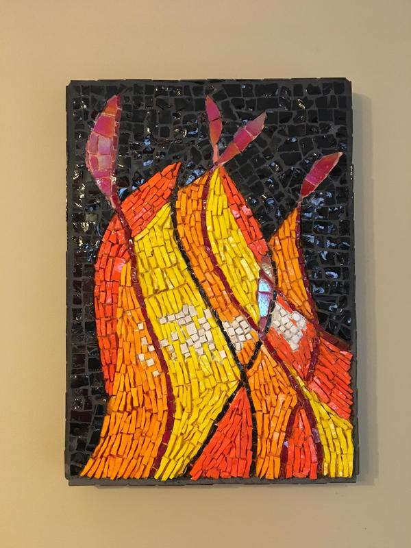 Fire.  Smalti glass and stone and tiles on wood mount.  20 x 30cm
