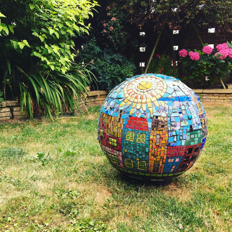 Garden Globe - Sunny Street.  Mixed media, polystyrene base Diameter 50cm