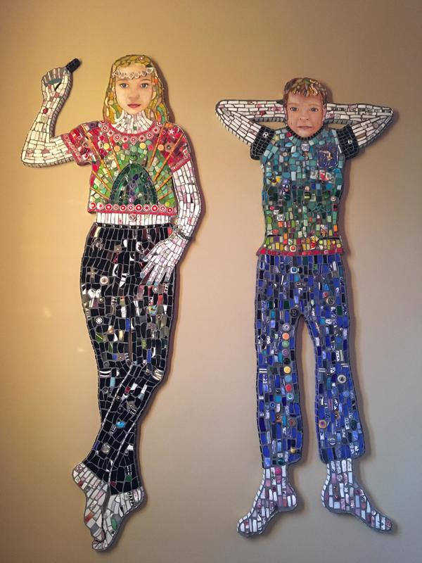 Mosaic Children.  Mixed media on board, life size. 163 x 63 x 40cm each