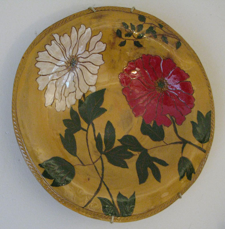 White and red peony plate