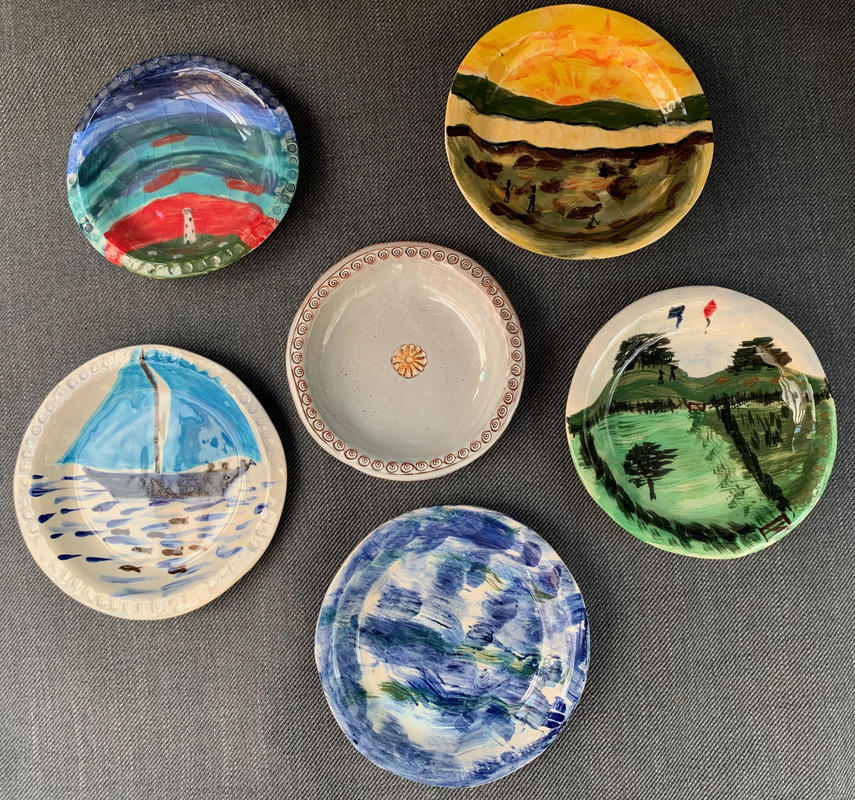 Six very small unique painted plates