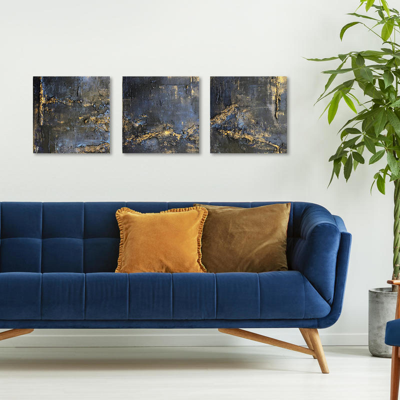'3 at midnight' 30x30cm pieces, deep edge canvasses in textured golds and midnight blues