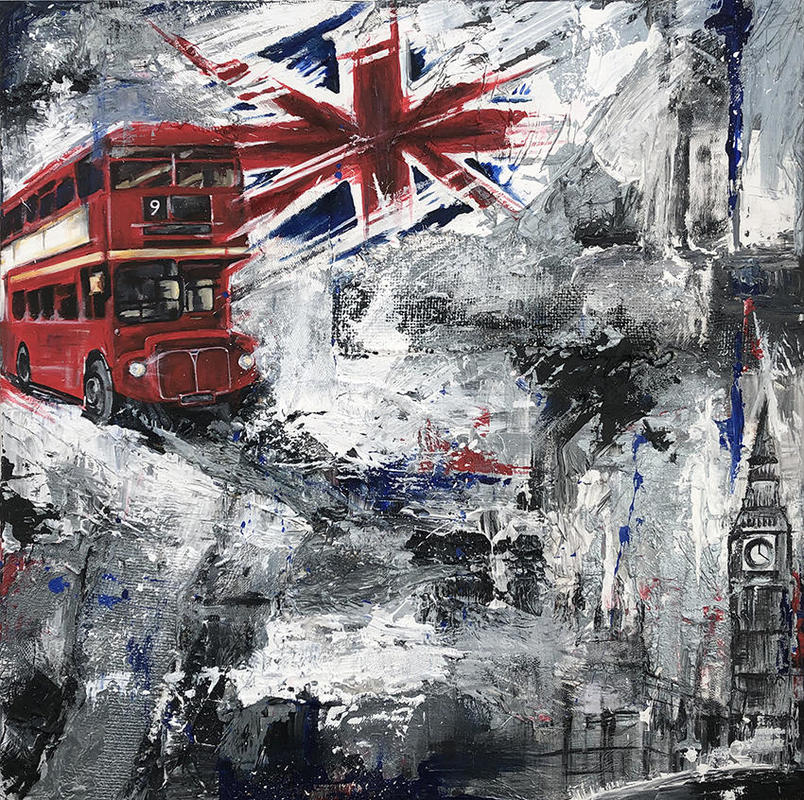 'London Bustle' 76 x 76inch canvas, deep edge, multile textures blended with real life scenes