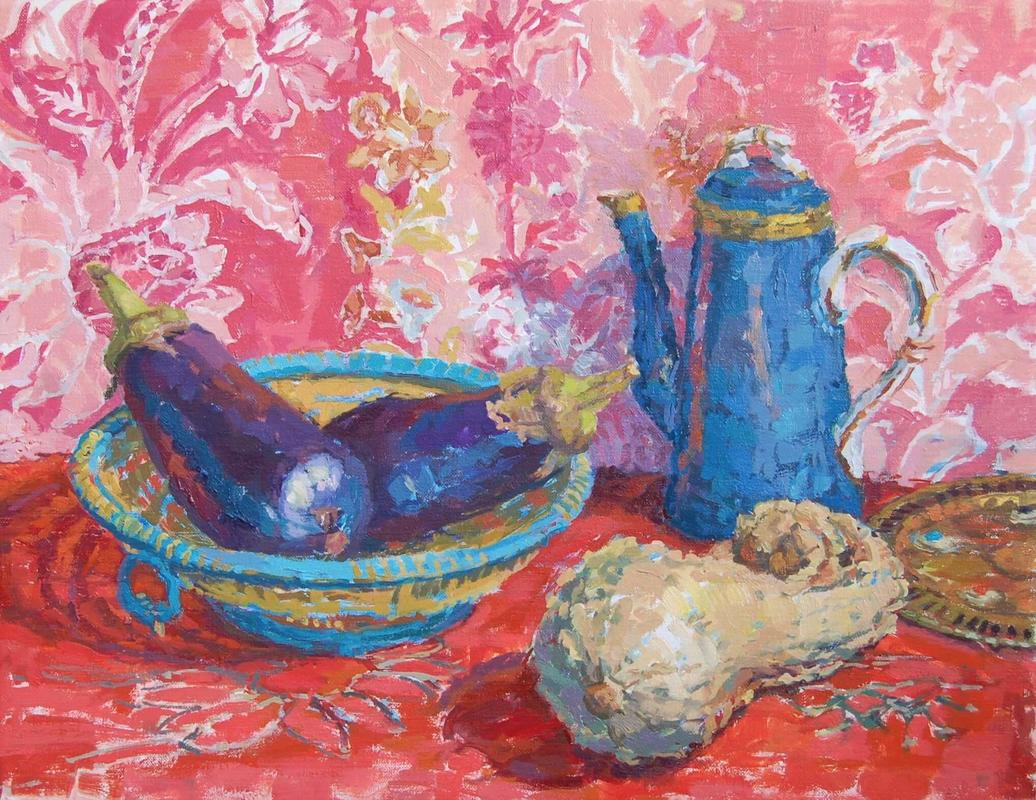 Aubergines and Coffeepot  oil on canvas  49 x 60 cm