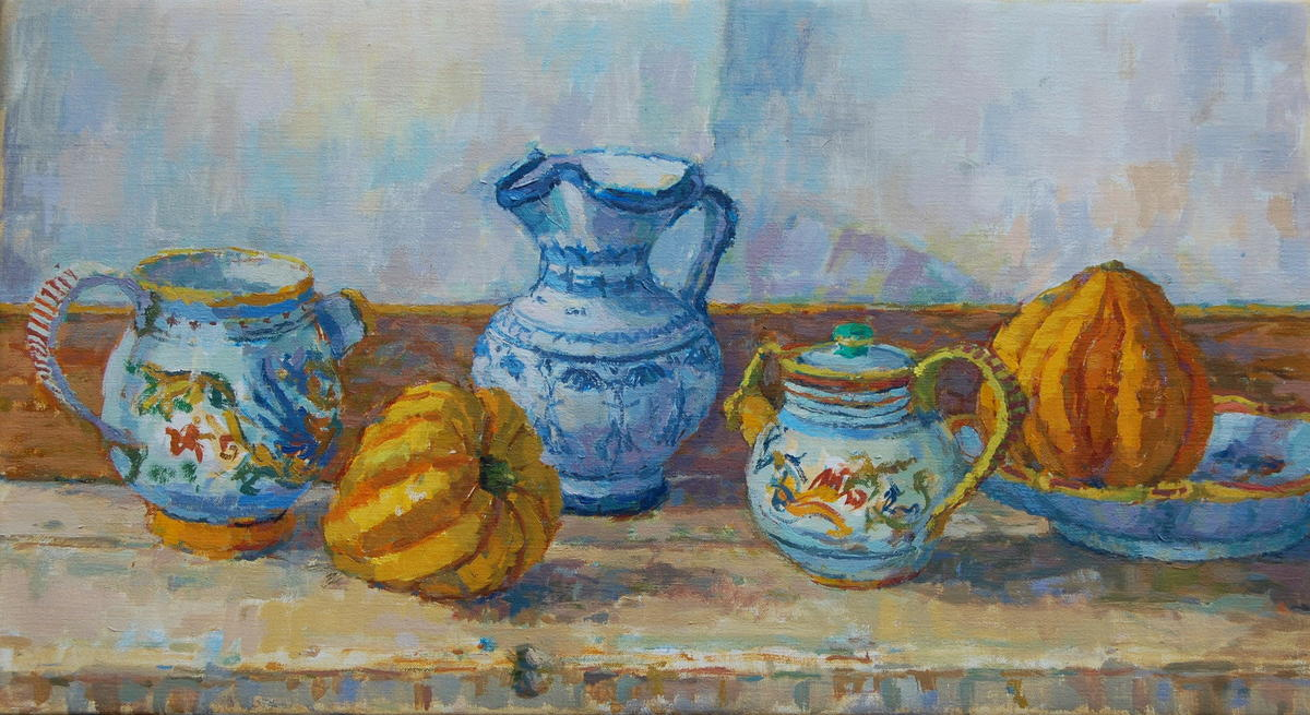 Tuscan Jugs and Gourds  oil on canvas  52 x 83 cm