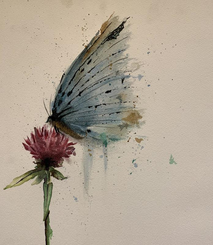 Flutterby. Watercolour and ink on 140lb NOT cold pressed paper.