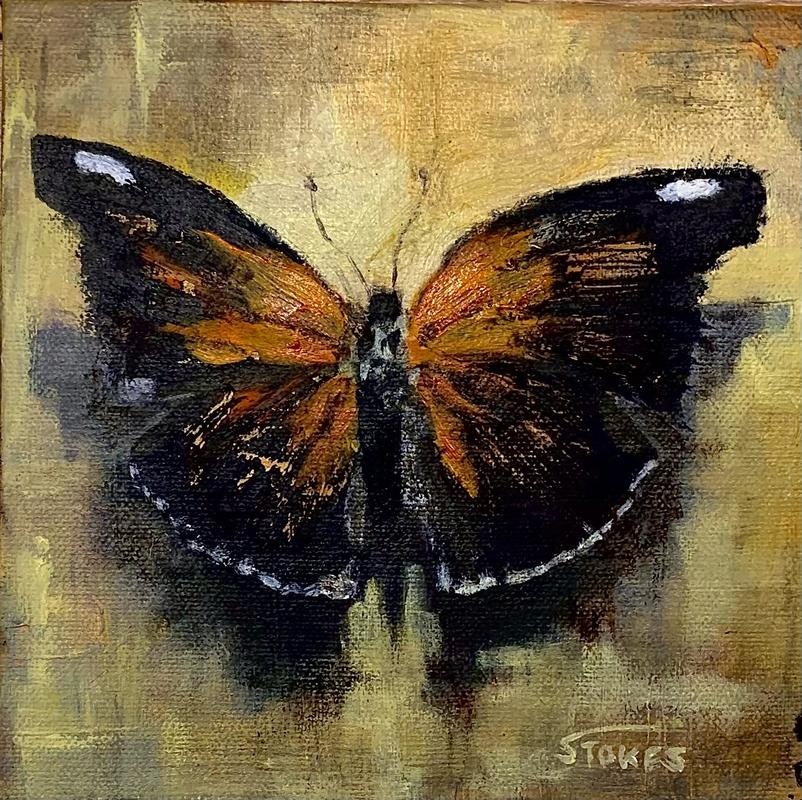 Painted lady . Acrylic on stretched canvas