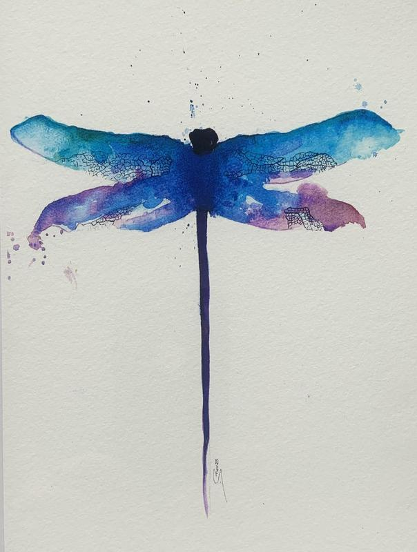Dragonfly I . Watercolour and India ink on 140lb NOT cold pressed paper