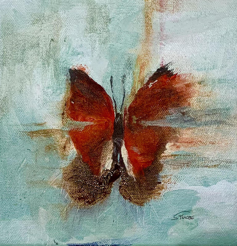 Butterfly IV . Semi abstract Acrylic on stretched canvas