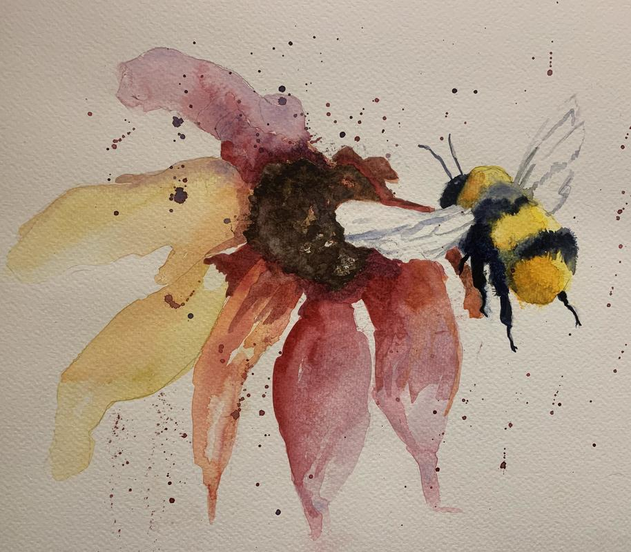 Happy Landings. Watercolour on 140 lb NOT cold pressed paper