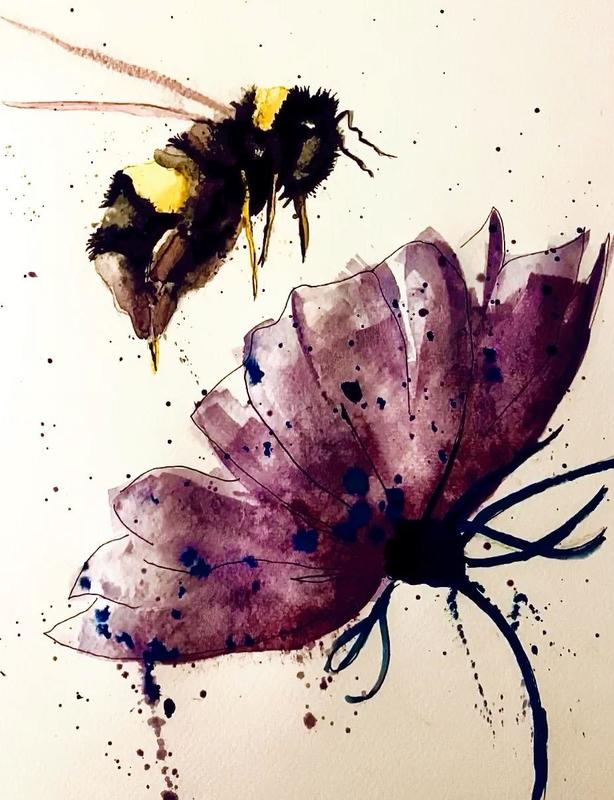 Bees knees . Watercolour and ink on 140lb NOT cold pressed paper