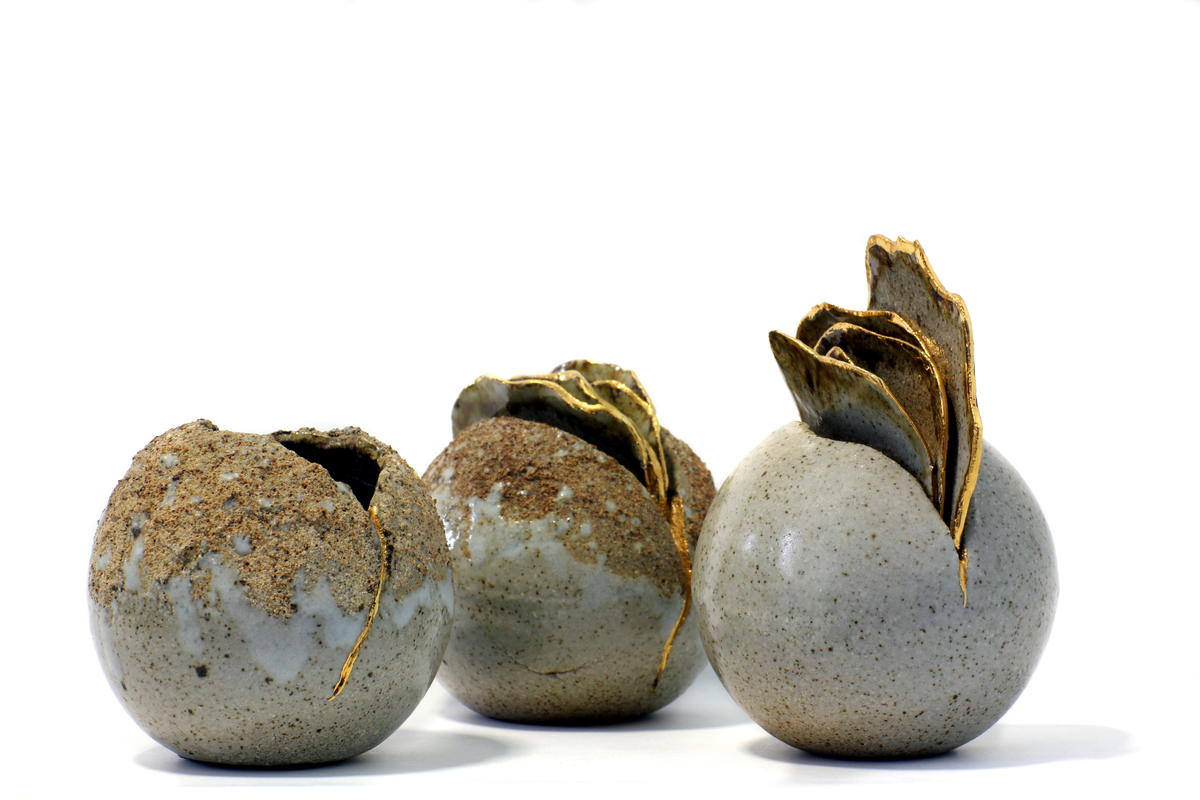 Seed Pod Trio. Gas Fired Stoneware Sculptures, with Gold Lustre.