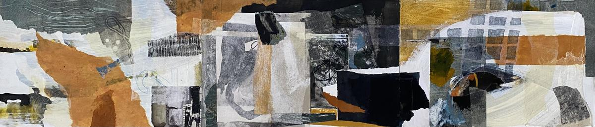Yellow ocre impression - Collage mixed media on board
