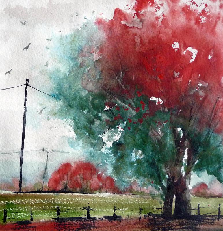 Ipsden Fields, mounted watercolour 39 x 39cm... £125