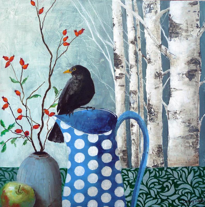Blackbird & Rosehips, acrylic on box canvas 40 x 40cms