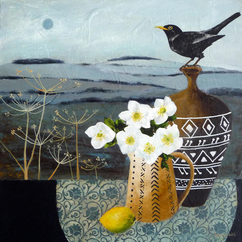 Blackbird & Hellebores, acrylic on box canvas 50 x 50cm