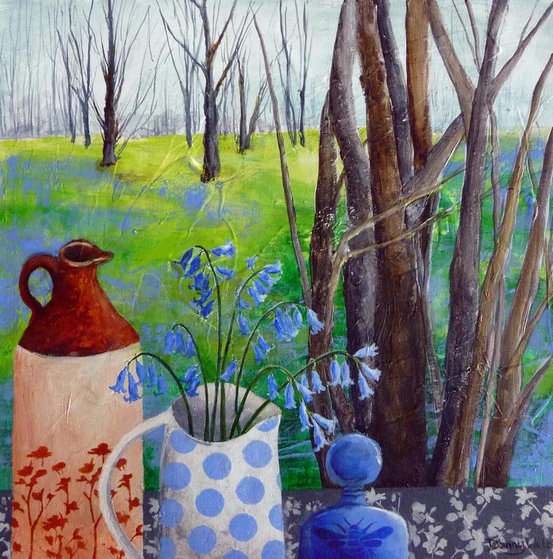 Bluebells & Bee, acrylic on box canvas 40 x 40cms...£345