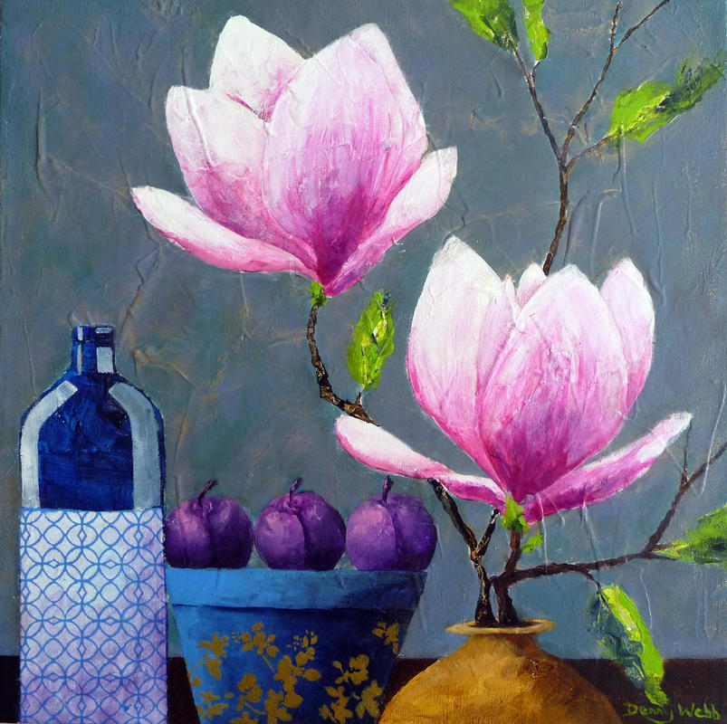 Magnolia & Plums, acrylic on box canvas 40 x 40cms...£345