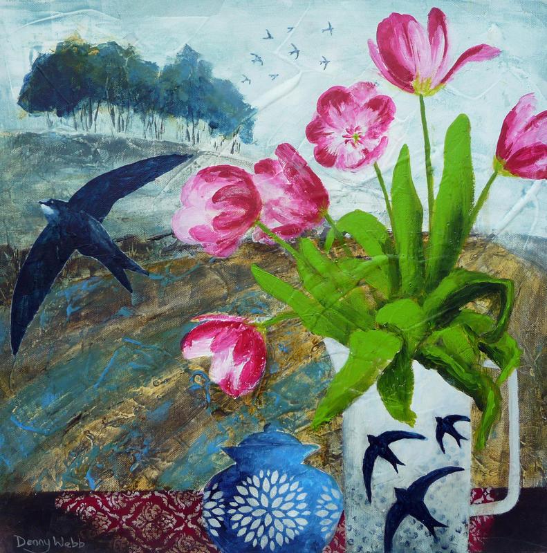 Tulips & Swifts, acrylic on box canvas 40 x 40cms...£345