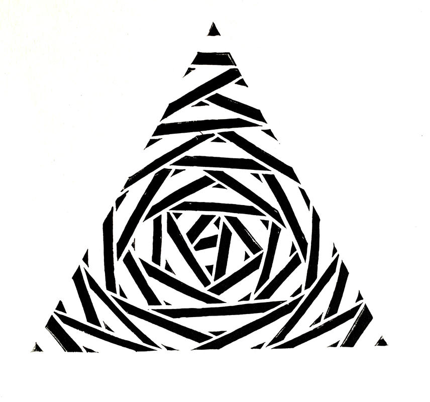 'Equilateral Triangle 2', Lino Cut Print, '29.7 x 21 cm'