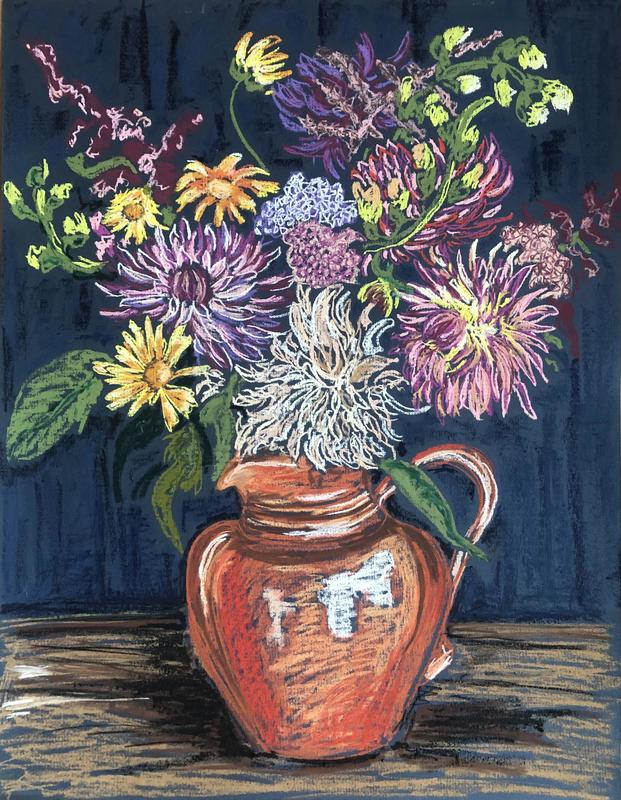 'Dreaming of Dahlias' oil pastel & chalk pastel