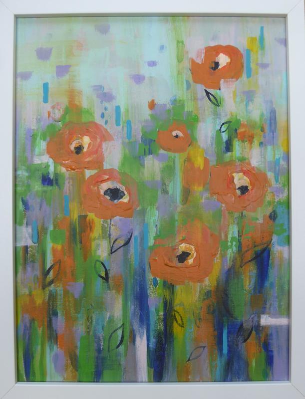 Abstract garden. Acrylic on canvas. Framed 32cm x 42cm